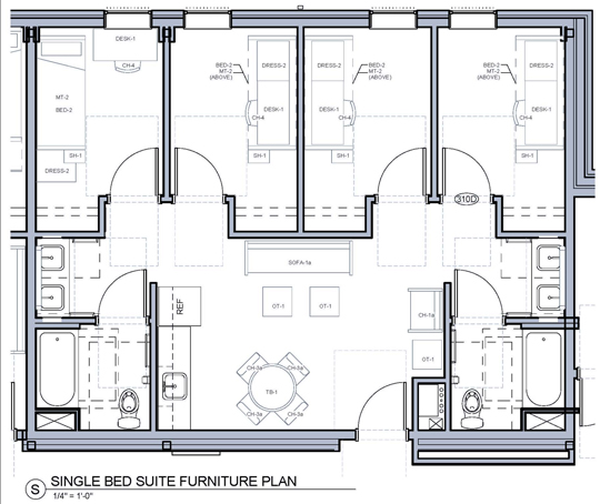 The Bosley Hall has a combination of single and double-bedroom suites. The above layout illustrates a single-bedroom suite in which each resident has a ...